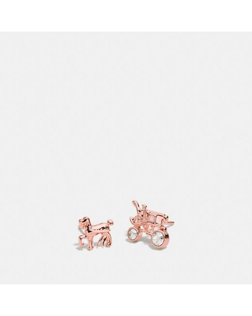 COACH - Metallic Pave Horse And Carriage Stud Earrings - Lyst