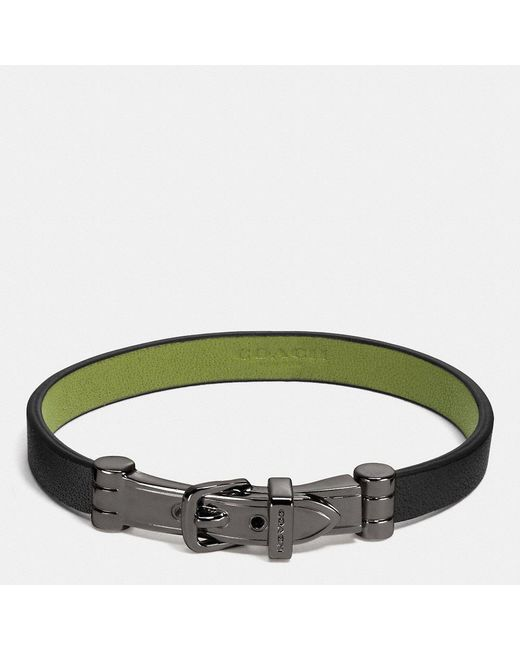 COACH - Green Two Tone Glovetanned Leather Buckle Bracelet - Lyst