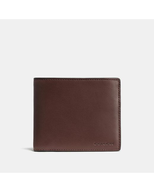 COACH - Brown Compact Id Wallet In Sport Calf Leather for Men - Lyst
