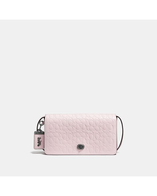 COACH - Pink Dinky In Signature Leather With Floral Bow Interior - Lyst