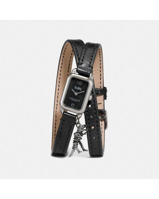 COACH - Black Ludlow Double Wrap Watch With Charm - Lyst