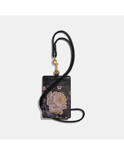 COACH Black Id Lanyard With Garden Rose Print