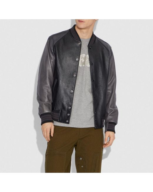 be9a5be49fe ... COACH - Black Leather Varsity Jacket for Men - Lyst ...
