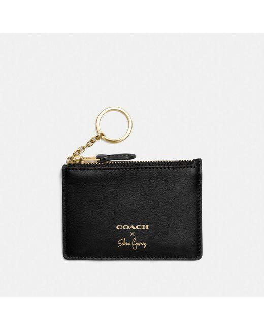 COACH - Black Selena Mini Skinny Id Case In Refined Calf Leather - Lyst
