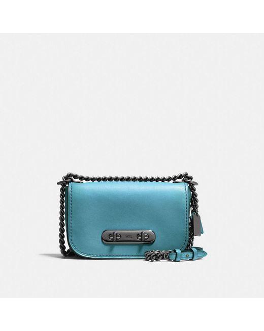 COACH | Blue Swagger Shoulder Bag 20 In Burnished Glovetanned Leather | Lyst
