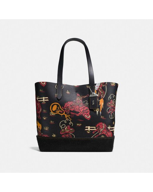 COACH - Black Gotham Tote In Wild Western Print Pebble Leather - Lyst