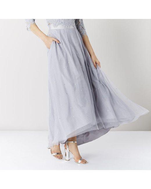coast batilda tulle midi skirt in gray lyst