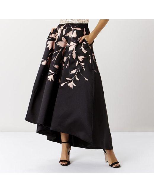 coast saffy printed midi skirt in black lyst