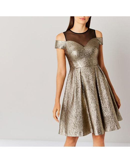 Coast | Jiana Metallic Bardot Dress | Lyst