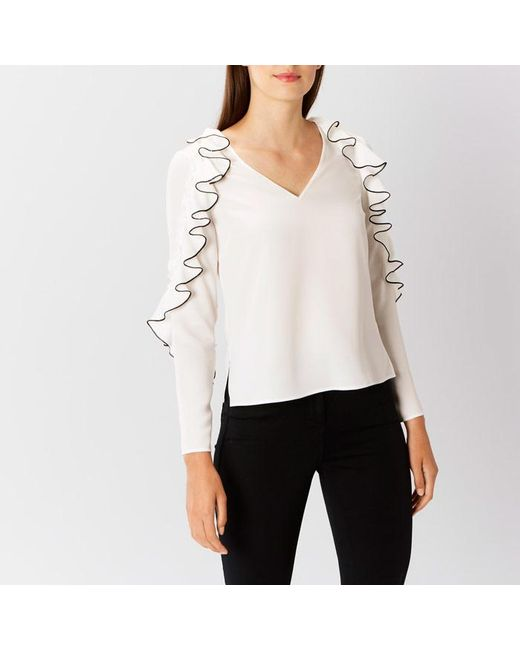 Coast | White Clemmie Frill Top | Lyst