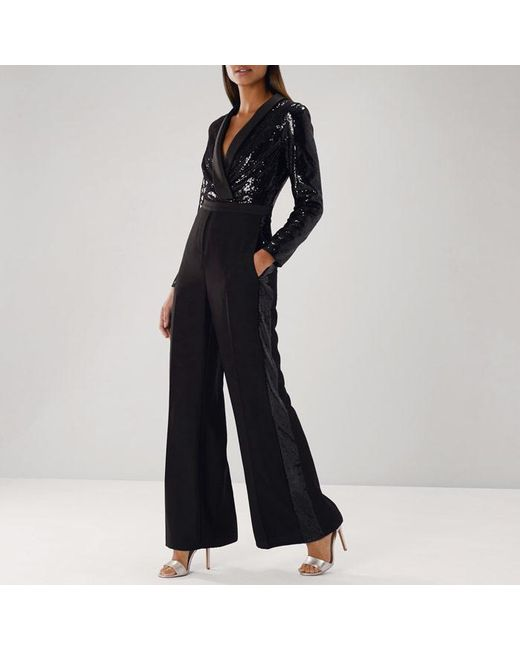 Coast - Black Minelli Sequin Top Jumpsuit - Lyst