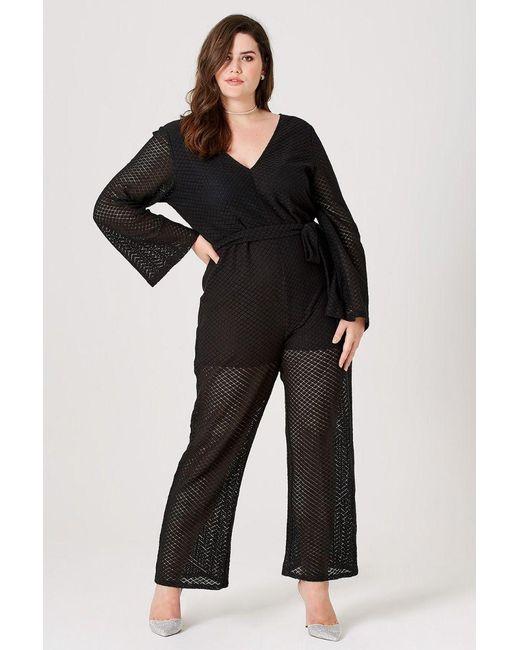 5ed6d2193134 ... Elvi - Black Ottlie Pointelle Wide-leg Jumpsuit - Lyst ...