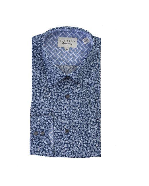 Ted Baker - Blue Nimph Leaf Tonal Print Shirt for Men - Lyst