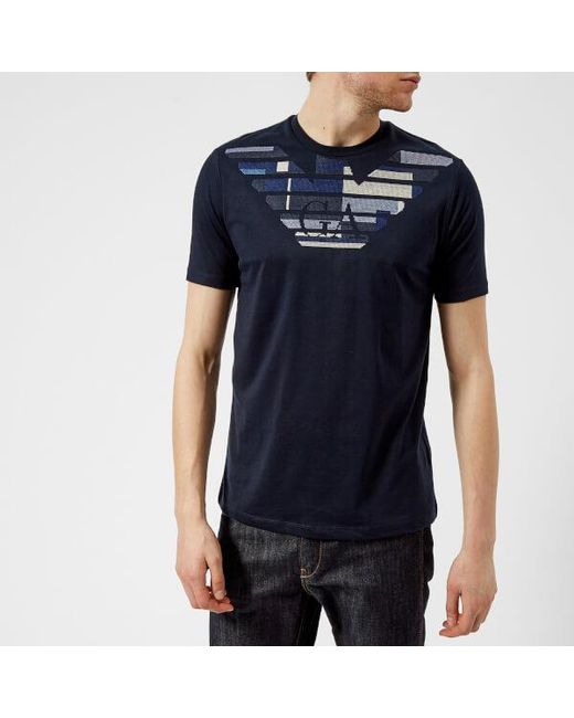 Emporio Armani - Blue Men's Embroidered Tshirt for Men - Lyst