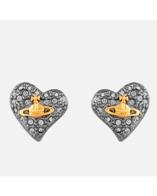 Vivienne Westwood   Black Jewellery Women's Tiny Diamante Heart Stud Earrings   Lyst