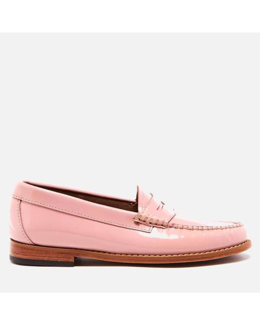 G.H. Bass & Co. | Pink Women's Penny Wheel Patent Leather Loafers | Lyst