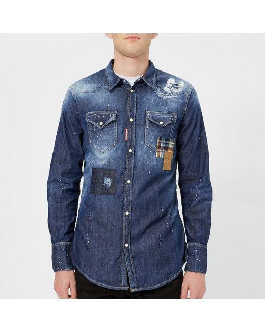 3269d924ea6 DSquared² - Blue Men s Patch Bleached Light Wash Western Shirt for Men -  Lyst ...