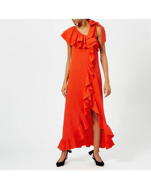 32a0debc Ganni - Red Clark Dress - Lyst ...