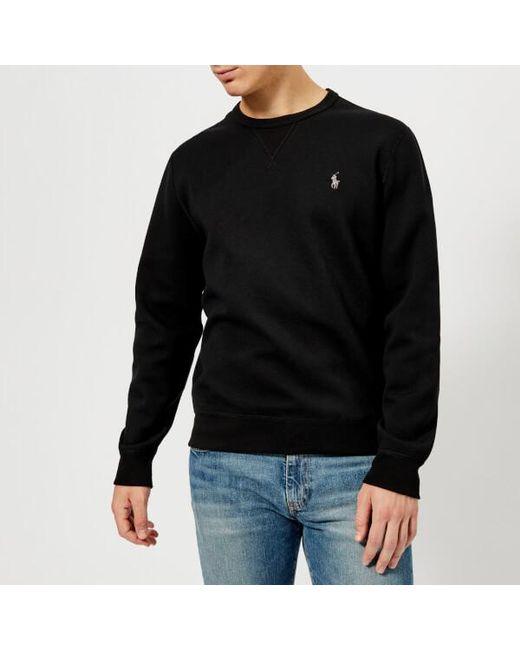 145166aefa0b8 Polo Ralph Lauren - Black Men s Crew Neck Tech Sweatshirt for Men - Lyst ...