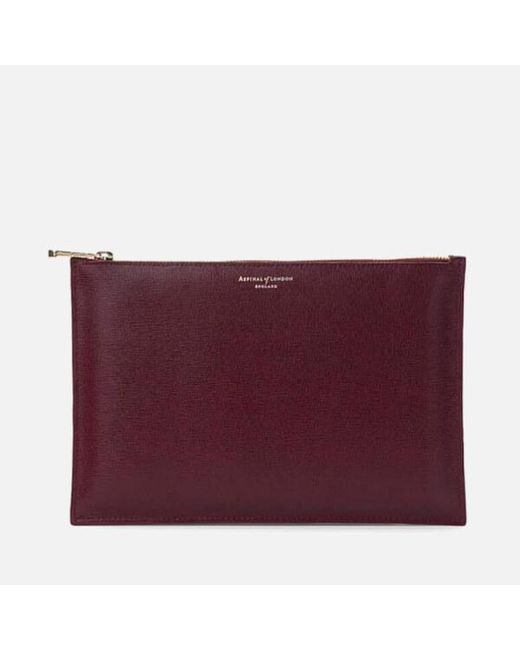 Aspinal - Purple Large Essential Flat Pouch - Lyst