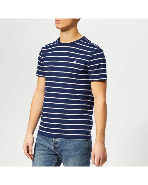 dc84ec9cf Polo Ralph Lauren - Blue Custom Slim Fit Stripe Short Sleeve T-shirt for Men  ...
