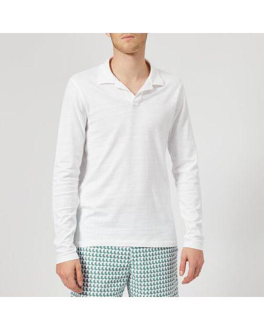 Orlebar Brown - White Men's Felix Long Sleeve Slub Polo Shirt for Men - Lyst