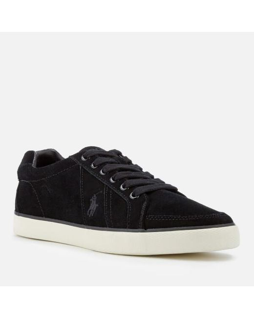 Thorton 2 Pique Trainers Leather Trims in Black - Black Polo Ralph Lauren zoefjk9