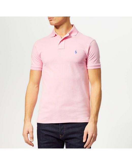 69e55d99 Polo Ralph Lauren - Pink Basic Pique Slim Fit Polo-shirt for Men - Lyst ...