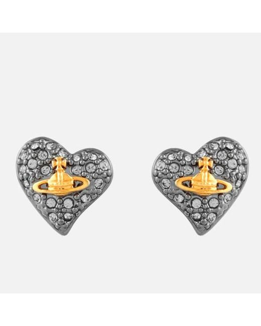 Vivienne Westwood | Black Jewellery Women's Tiny Diamante Heart Stud Earrings | Lyst