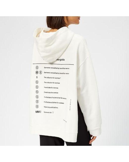 316148ab15 ... MM6 by Maison Martin Margiela - White Women s Oversized Hooded  Sweatshirt ...