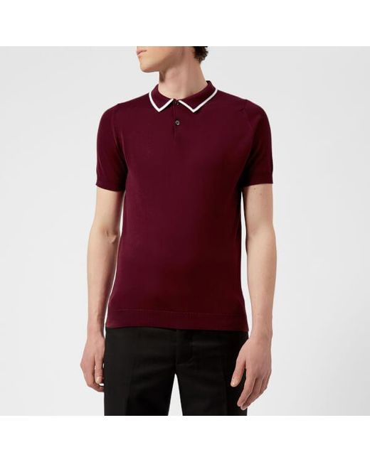 John Smedley - Red Men's Klerk 30 Gauge Sea Island Cotton Polo Shirt for Men - Lyst