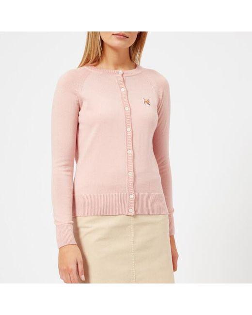 Maison Kitsuné - Pink Women's Fox Patch Merino Cardigan - Lyst