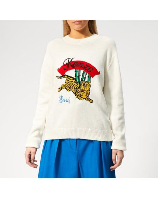 e34971a14 Lyst - KENZO Women's Jumping Tiger Jumper in White