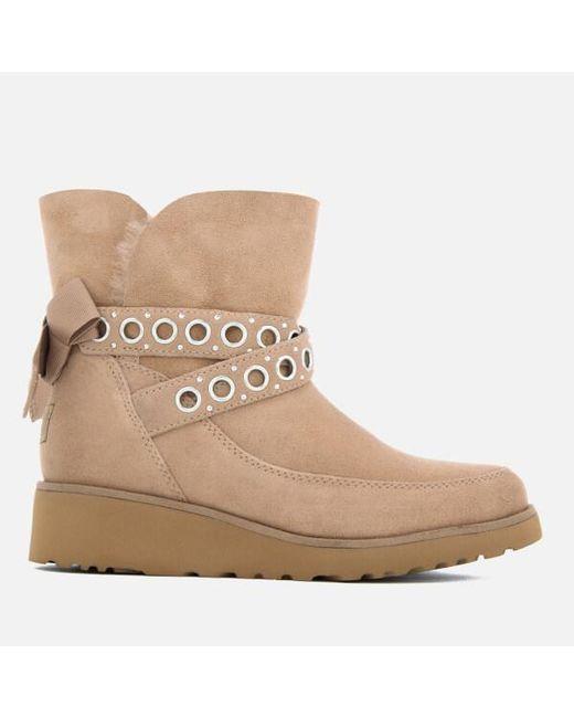 Ugg - Brown Women's Alisia Short Suede Sheepskin Boots - Lyst
