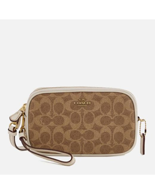 cc9d1ef7bebb ... clearance coach brown womens colorblock signature cross body clutch bag  c5f7c 4b724