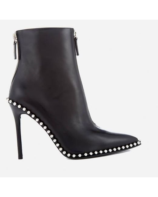 Alexander Wang - Black Women s Eri Leather Studded Heeled Ankle Boots ... 7daa236467
