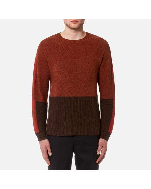 Folk - Orange Men's Panel Texture Crew Neck Jumper for Men - Lyst