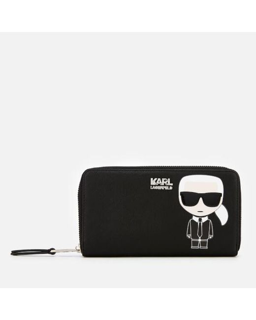 Karl Lagerfeld - Black Ikonik Karl Zipped Wallet - Lyst