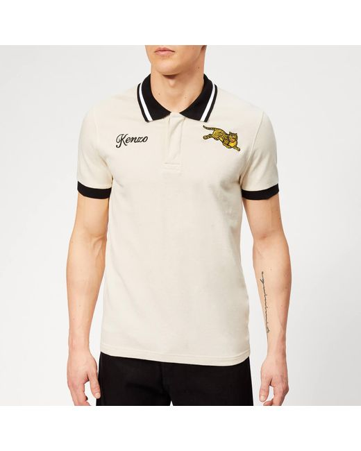 7c594e55 Lyst - KENZO Beige Jumping Tiger Fitted Polo in Natural for Men ...