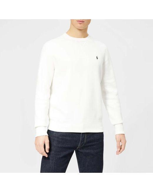 4ea9afeed4e7 Polo Ralph Lauren - White Men s Basic Crew Sweatshirt for Men - Lyst ...