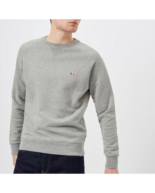 Maison Kitsuné - Gray Men's Tricolor Fox Patch Sweatshirt for Men - Lyst