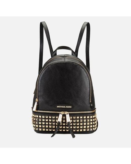 d20b6f67339c MICHAEL Michael Kors - Black Rhea Zip Studded Leather Backpack - Lyst ...