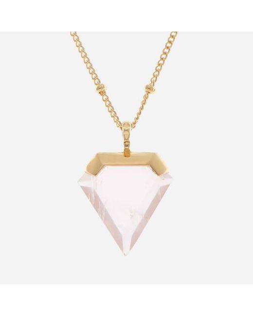 Missoma   Metallic Women's Rose Quartz Shield Pendant And Gold Beaded Chain   Lyst