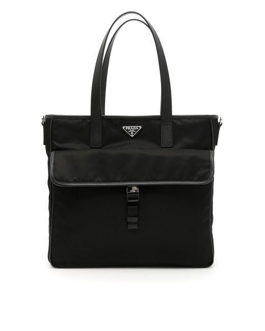 Prada - Black Nylon And Saffiano Tote Bag for Men - Lyst