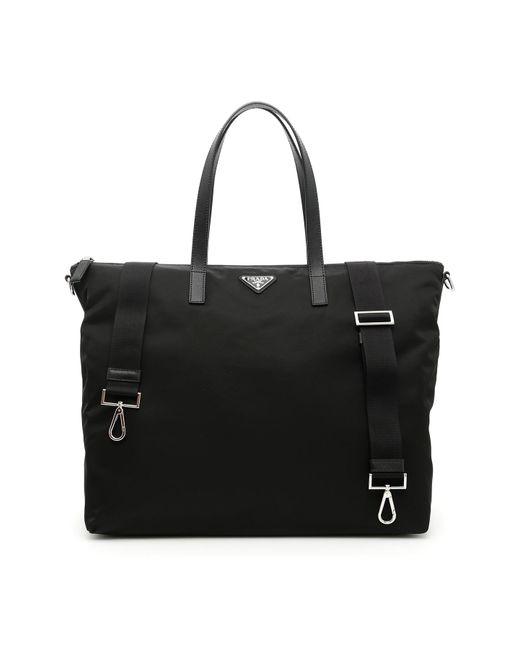 Prada - Black Nylon + Saffiano Tote Bag for Men - Lyst