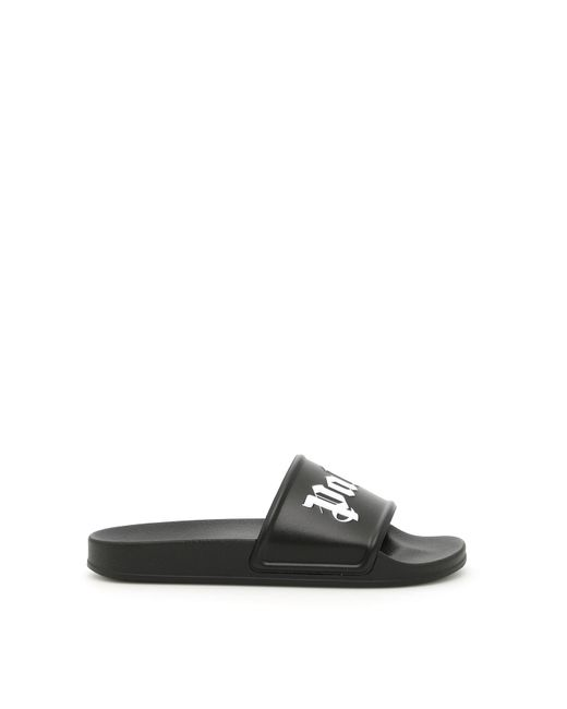 3dd5a6eb2d93c Palm Angels Black Logo Pool Slides in Black for Men - Save ...
