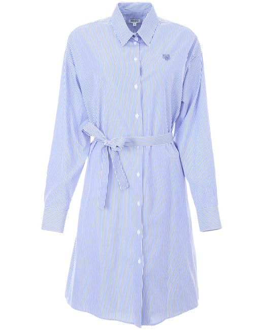 KENZO - Blue Shirt Dress With Tiger Embroidery - Lyst
