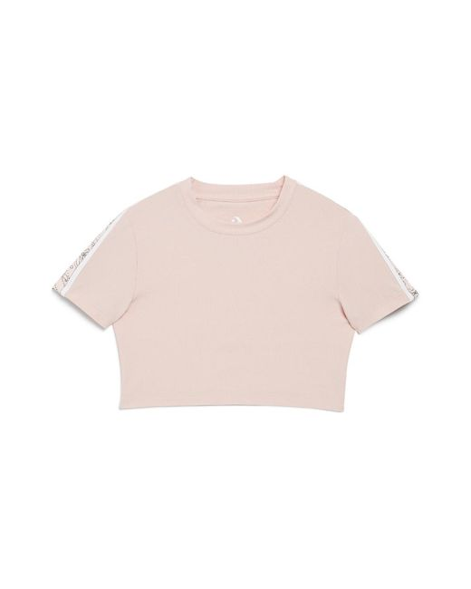 Converse - Pink X Miley Cyrus Cropped Glitter Track Women's T-shirt - Lyst