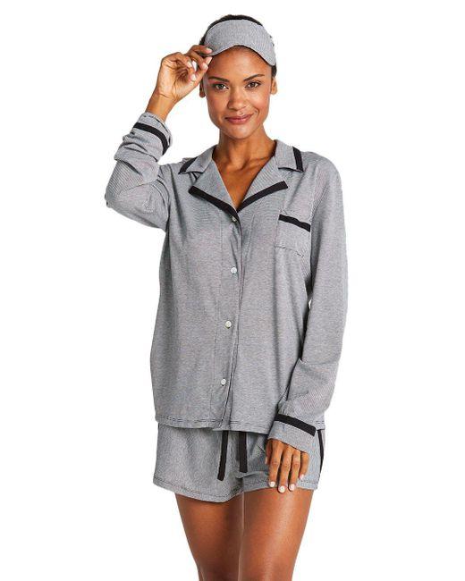 Cosabella - Gray Hustle Stripe Long Sleeve Top - Lyst