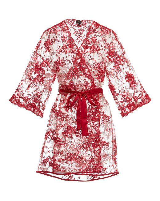 Cosabella Red Rosie Velvet 3/4 Sleeve Robe